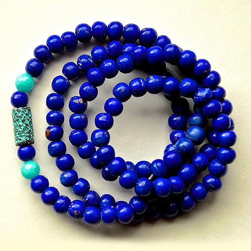 Blue-Dyed Natural Bone & Turquoise Jade Beads Mala
