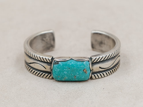 SS Rectangle Ingot w/ Blue Kingman Turquoise Cuff by Mike French