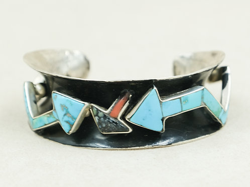 Sterling Silver Anticlastic  Multi-Stone Cuff by Robert Mac Eustace Jones