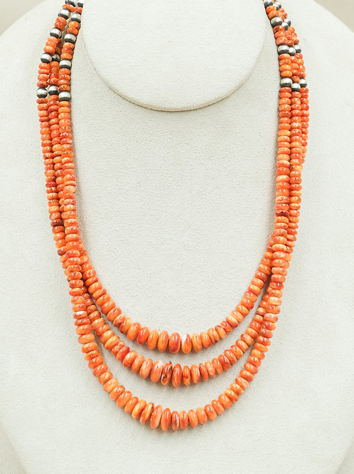 SS 3 Strand Concho & Spiny Oyster Necklace by Maggie Moser