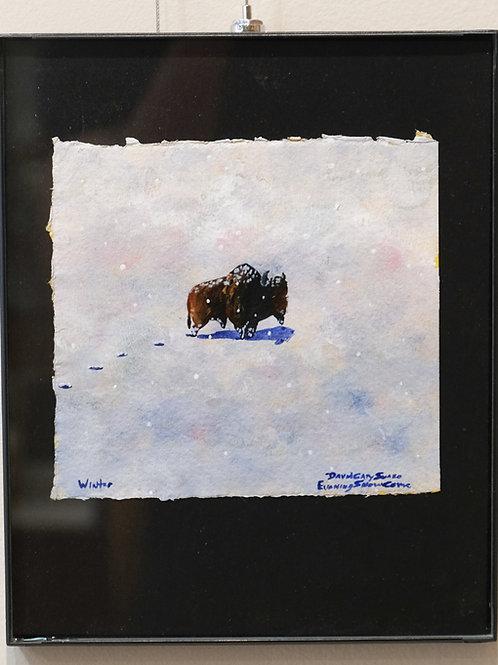 """Wintry"" Framed Acrylic on Handmade Paper by David Gary Suazo"