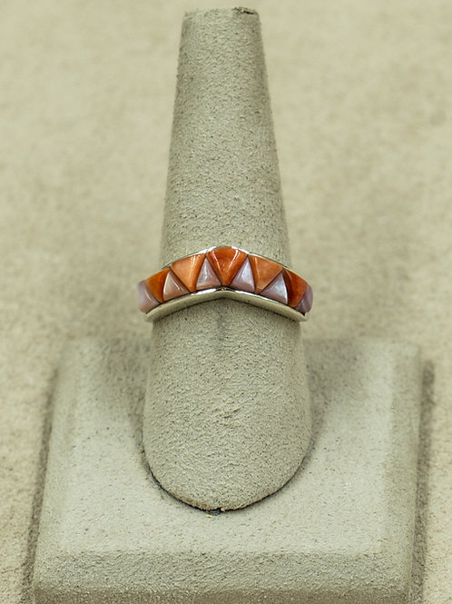 SS Triangle Inlay w/ Turquoise, MOP, & Spiny Oyster Ring by Veronica Benallyy