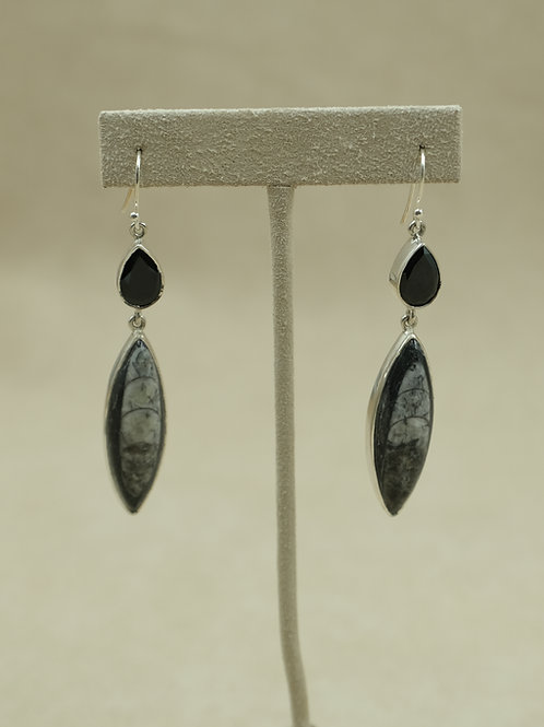 Sterling Silver w/ Orthoceras & Smoky Quartz  Earrings by Sanchi and Filia