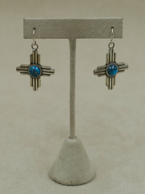 Sterling Silver Hollow Zia Inlay w/ Turquoise Earrings by Gregory Segura
