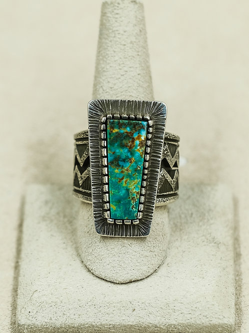 SS w/ Oxidized Asymmetrical Rectangle Turquoise 10.25x Ring by Aaron John