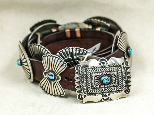 Sterling Silver & Turquoise Concho Belt