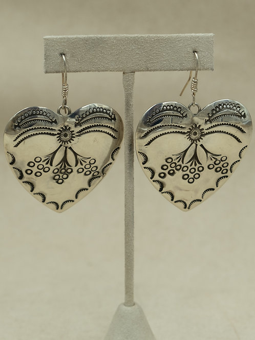 "Sterling Silver Hand Stamped ""Big Hearted Woman"" Wire Earrings by John Rippel"