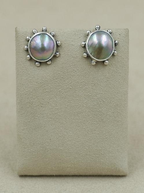 Sterling Silver Cortez Pearl Post Earrings by Michele McMillan
