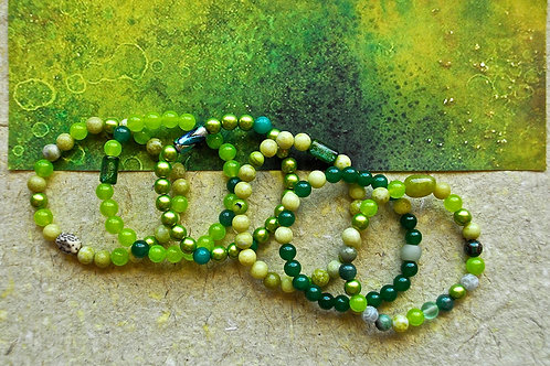 Combinations of Green Peridot Jasper, Jade, and Dichroic Beaded Bracelets