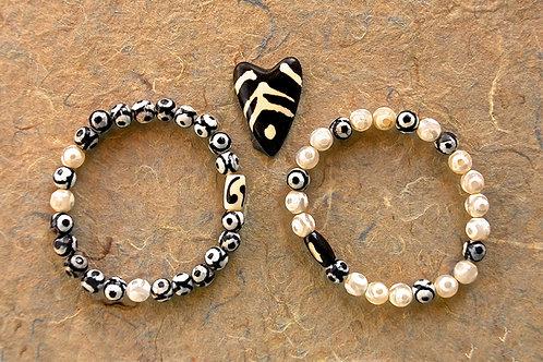 Tibetan Eye Dzi Agate Beads Bracelet