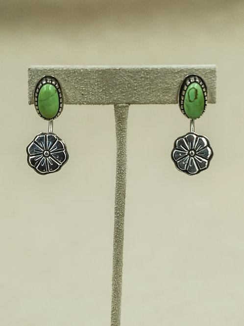 Sterling Silver Green Royston Turquoise w/ Flower Drop Earrings by Aaron John