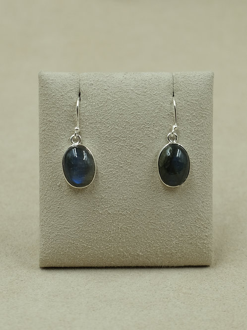 Sterling Silver Labradorite Oval Earrings by Sanchi and Filia