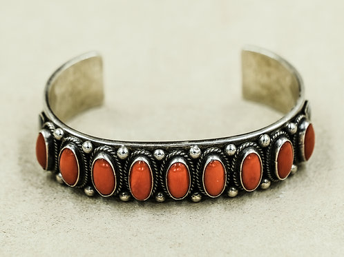 Sterling Silver 9 Stone Mediterranean Coral Cuff by Andy Cadman