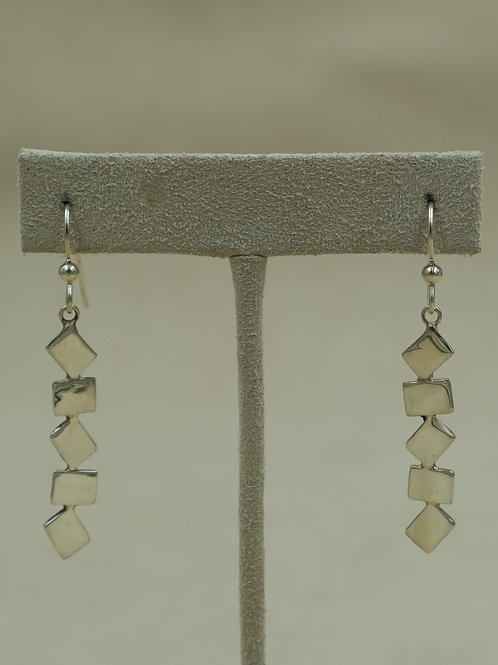 Long Abstract Sterling Silver Wire Earrings by Jacqueline Gala