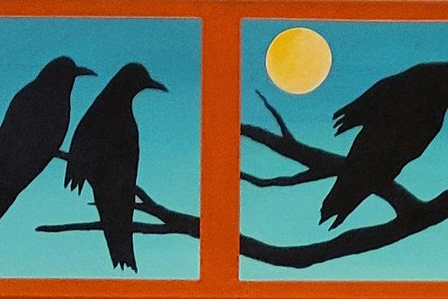 """Moonlight Play"" Raven 15"" x 60"" 4 Panel Acrylic on Canvas by Marilynn Jennings"