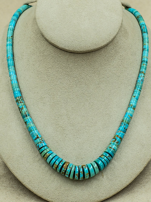 SS w/ Kingman Turquoise Discs, & Olive Shell Heishi Necklace by Kenneth Aguilar