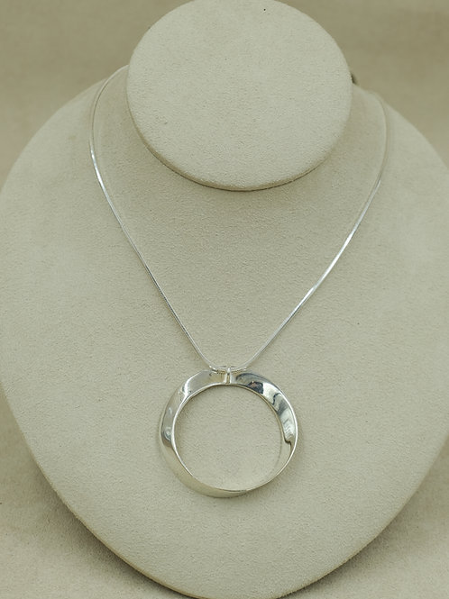 """Sterling Silver Large """"Homage to Moebius"""" Necklace by Charles Sherman"""