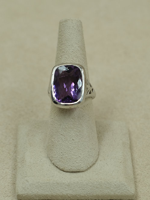 Sterling Silver Amethyst Faceted 7x Ring by Sanchi and Filia