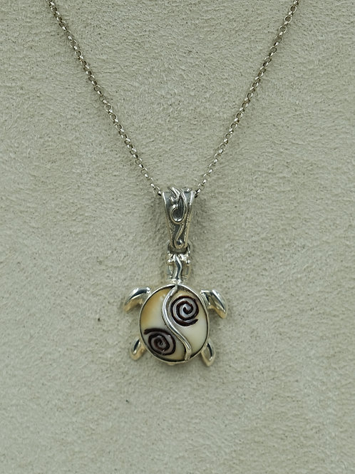 Sterling Silver Small Turtle Walrus Fossil Pendent by Zealandia