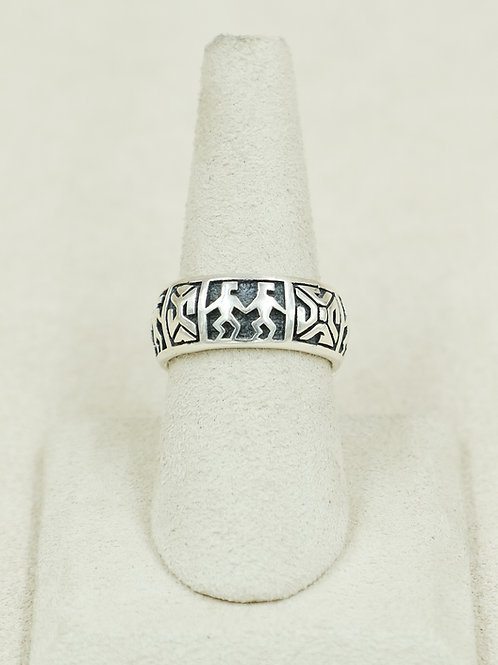 Sterling Silver Wide Figural Band 7x Ring by Michael & Melanie Kirk-Lente
