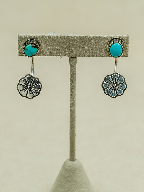 Blue Royston w/ Sterling Silver Flower Drop Earrings by Aaron John
