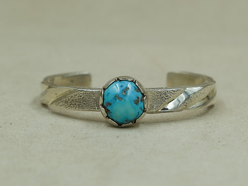 Sterling Silver Stacker w/ Stormy Mountain Natural Turquoise Cuff by JP Arviso