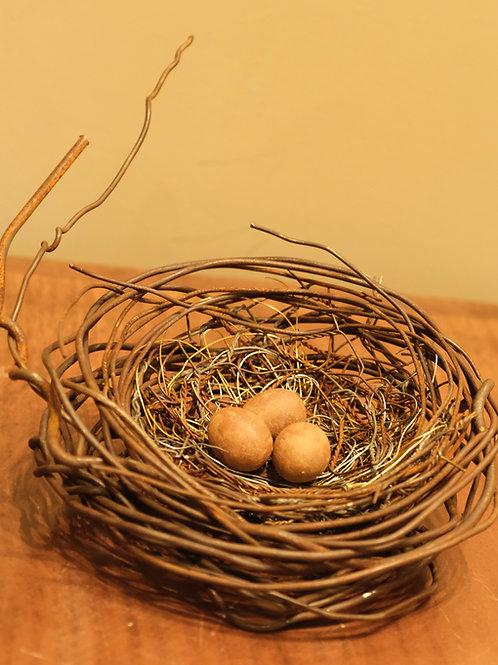 Large Handmade Metal Nest w/ 3 Brown Eggs by Phil Lichtenhan