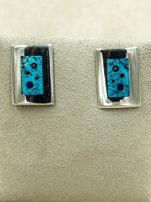 SS w/ Turquoise, Lapis, & Coral Inlay Earrings by Veronica Benally