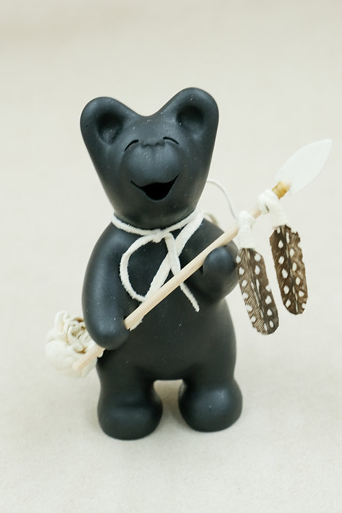 Mini Black Bear w/Shield on Back & Spear w/Two Speckled Feathers by Randy Chitto