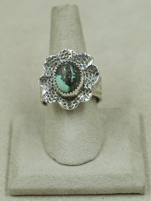 Candelaria Turquoise in Flower Setting Adj. Size, S.S. Ring by James Saunders