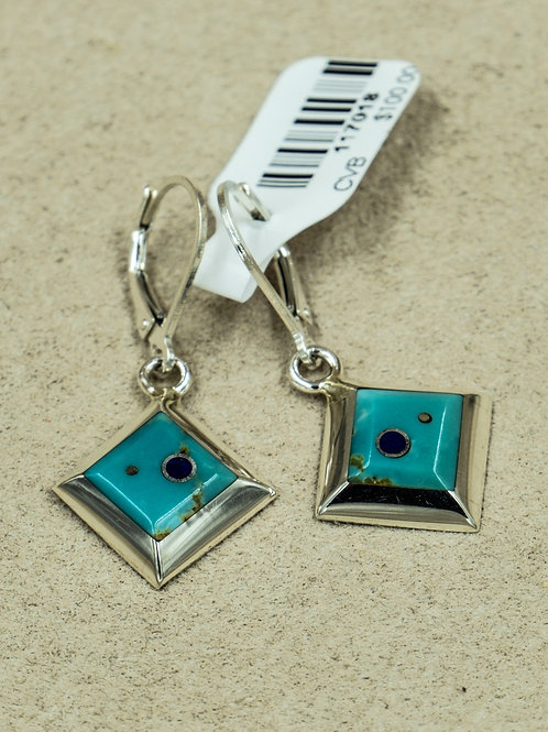 Sterling Silver w/ Small Square Turquoise, Lapis Earrings by Veronica Benally