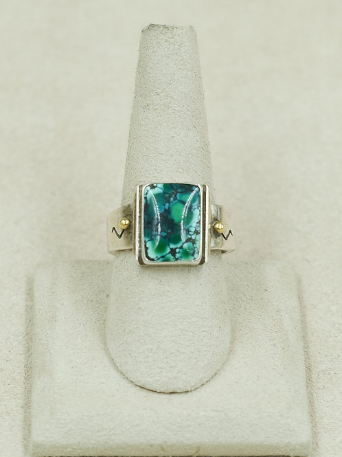 14k & Sterling Silver w/ Chinese Turquoise 10x Ring byJoe Glover