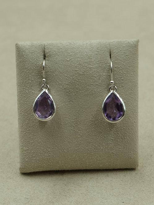 Sterling Silver Amethyst Teardrop Earrings by Sanchi and Filia