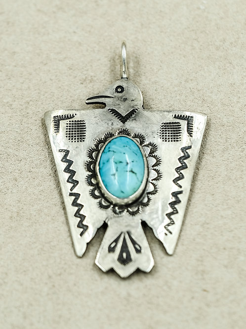 Sterling Silver Ingot Thunderbird w/ Large Oval Kingman Turquoise by Buffalo