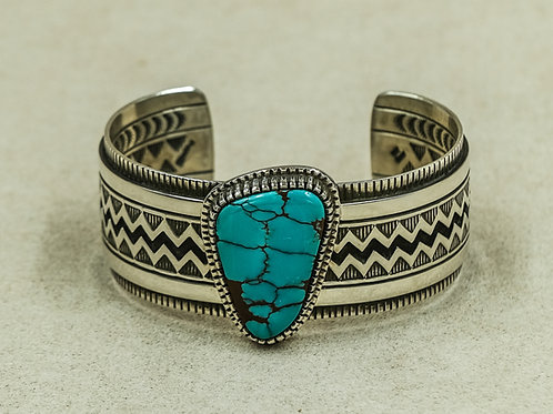 Sterling Silver Overlay Bisbee Turquoise Cuff by Aaron John