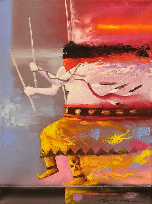 """Mountain Spirit Song"" Oil on Canvas -  16"" x 12"" - Tim Nevaquaya"