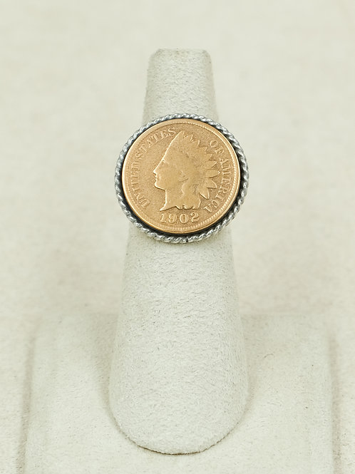 Sterling Silver Indian Head Penny 5.75x Ring by Maggie Moser