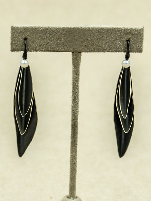 Sterling Silver Oxidized Stacked Leaves w/ 4MM Freshwater Pearls by Reba Engel
