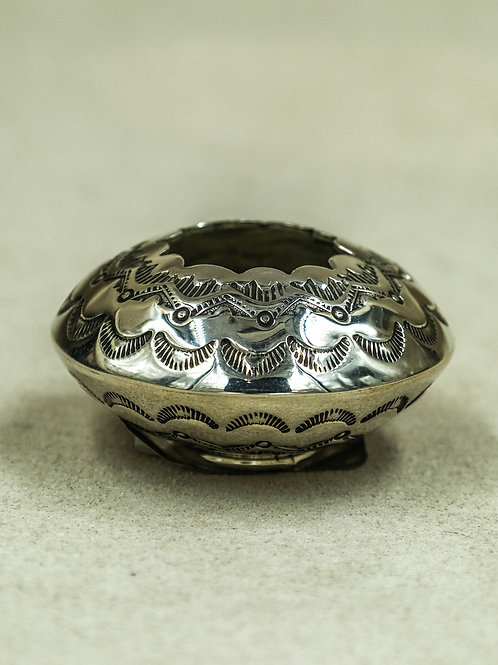 Sterling Silver Hand-Stamped  Seed Pot by Leonard Nez