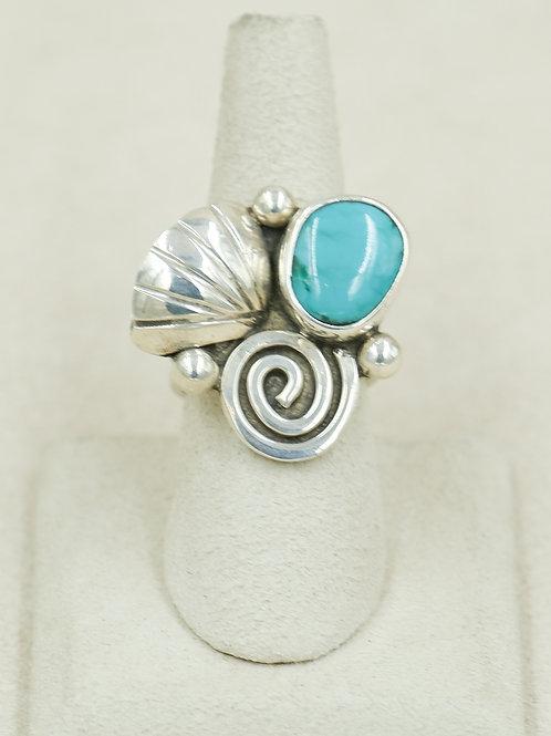 SS Seashell Spiral & Natural Blue TQ 8x Ring by Robert Mac Eustace Jones