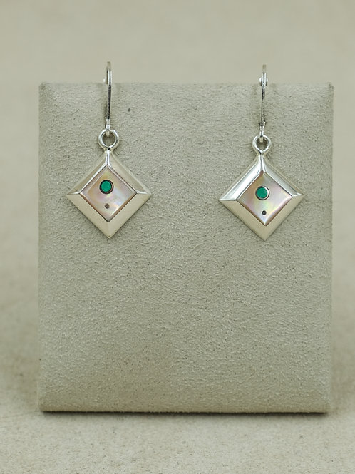 SS Diamond-Shaped Pink Mother of Pearl & Turquoise Earrings by Veronica Benally