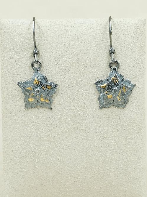 Sterling Silver Oxidized Flowers & Keum-boo Earrings by Cheryl Arviso