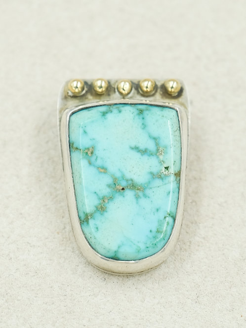 14k & Sterling Silver w/ Carico Lake Turquoise Pendent by Joe Glover
