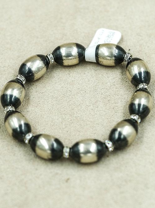 Sterling Silver w/ Small Oval Oxidized & Cubic Zirconia Bracelet by Shoofly 505