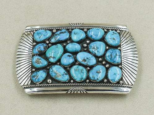 1980's Natural Morenci 18-Stone Turquoise Belt Buckle by Willie Yazzie