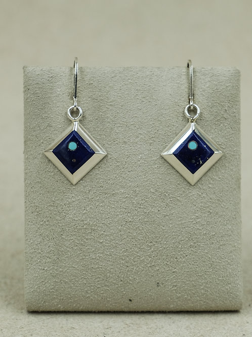 Sterling Silver Diamond-Shaped Lapis & Turquoise Earrings by Veronica Benally
