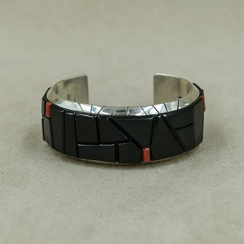 Sterling Silver Cuff with Black Jade & Mediterranean Coral by Dukepoo