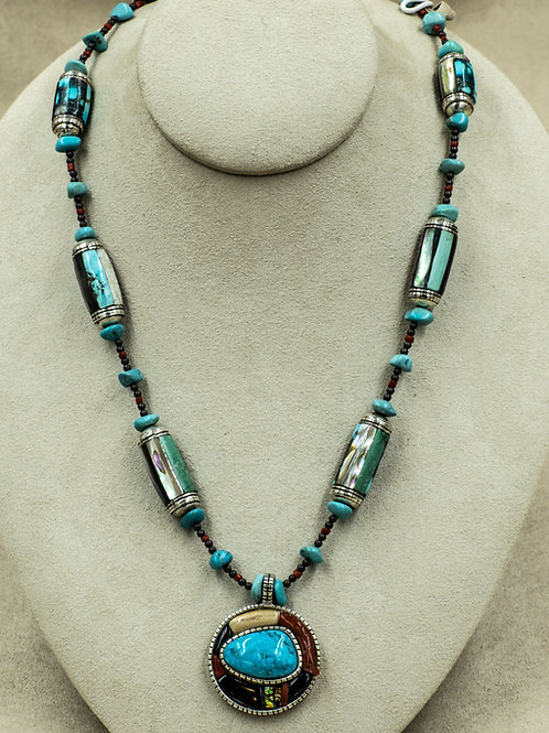 SS Inlay w/ Black Jade, Coral, MOP, & Turquoise by Jonathan Loretto
