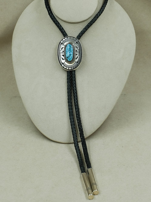 Sterling Silver w/ Natural Kingman Turquoise Bolo