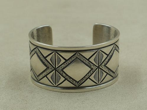 Sterling Silver Diamond Pattern Cuff by Monty Claw